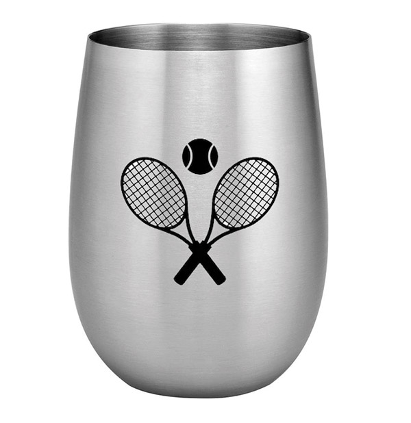 S.S. Crossed Racquets Stemless Wine Glass