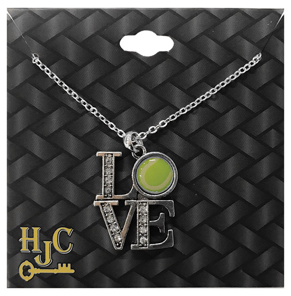 Love Tennis Crystal Charm Necklace