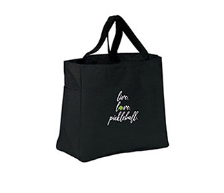 Live, Love, Pickleball Tote (Black)
