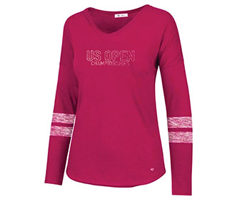 US Open Courtside Fader L/S Tee (W) Pink
