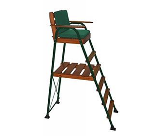 Umpire Chair-Natural Honey Stain/Green Frame