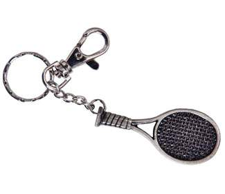 Pewter Racquet Keychain