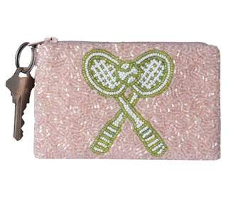 Beaded Coin Purse-Crossed Racquets