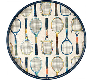 Tennis Racket 18 Inch Round Serving Tray