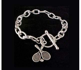 Crossed Racquet Chain Bracelet