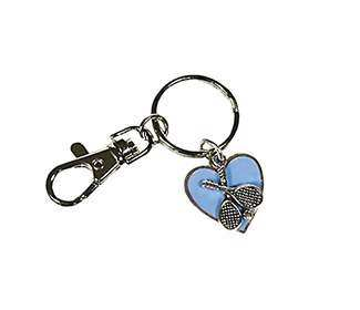 Blue Heart Tennis Keychain