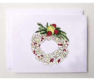 "Holiday Cards ""Tennis Cork Wreath"" (10x)"