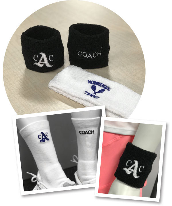 Custom embroidered, Embelished, sweatbands, socks, headbands